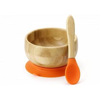 Bol Et Cuillière Bamboo Orange - Avanchy
