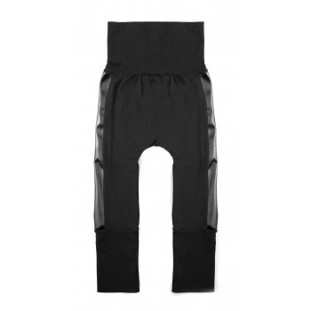 Pantalon évolutif (6-36m) Noir Bande Cuir - Coton Vanille