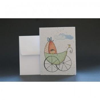 Carte De Souhait - Bébé En Poussette - Wishbuds