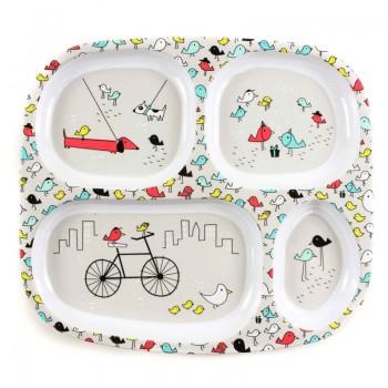 Assiette 4 Compartiments - Parc Bicyclette/oiseaux - Bumkins