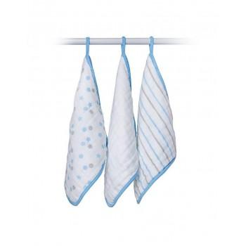 Débarbouillettes En Mousseline de coton 3/pqt - Bleu - Lulujo