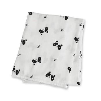 Couverture en Mousseline Bambou - Panda - Lulujo