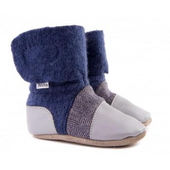 Chaussons en Laine Feutrée - Gr.2.5 (0-6m) - Bleu/tweed gris - Nooks Design