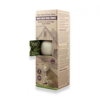 Boules de Séchage Pure Laine 3/pqt - Blanc - Moss Creek Wool Works