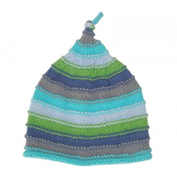 Bonnet en Tricot Bleu 0-6m - Pebble
