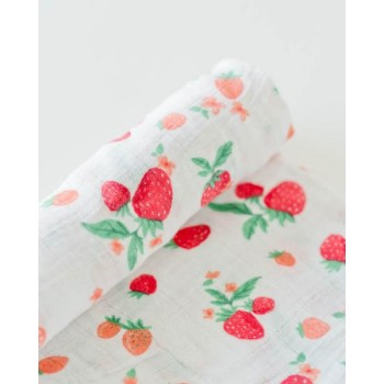 Couverture En Mousseline De Coton - Fraise - Little Unicorn