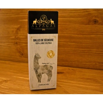 Balles de Sécheuse 100% Laine Alpaga 3/pqt - Alpaga du Domaine Poissant