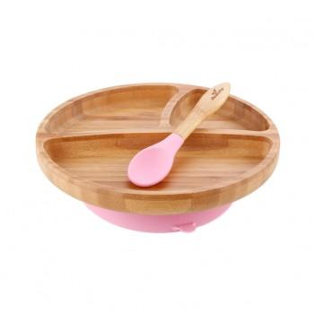 Assiette et Cuillère en Bambou Rose - Enfant - Avanchy