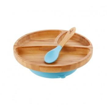 Assiette et Cuillière en Bambou Bleu - Enfant - Avanchy