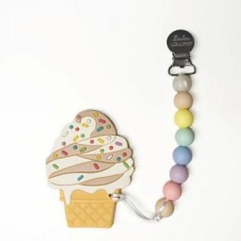 Duo Attache Suce & Jouet Dentition - Crème Glacé - Loulou Lollipop