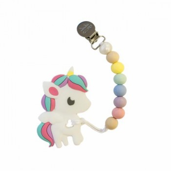 Duo Attache Suce & Jouet Dentition - Licorne multi - Loulou Lollipop