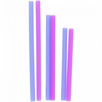 Paille en Silicone Réutilisable 6/pqt - Berry/cobalt - Silikids