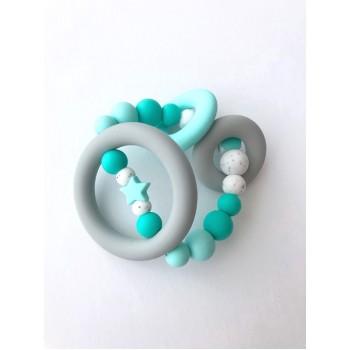 Hochet D'éveil Sensoriel - Turquoise - Jululu