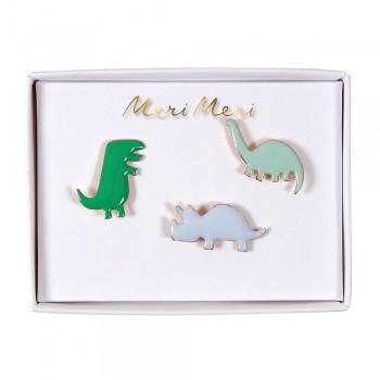 Broches en émail 3/pqt - Dino - Meri Meri