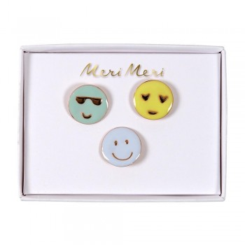 Broches en Email Emoji - 3/pqt - Meri Meri