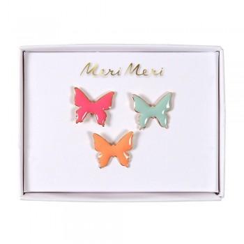 Broches en émail 3/pqt - Papillons - Meri Meri