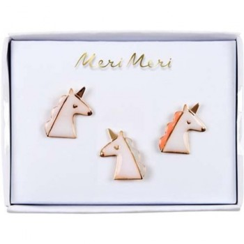 Broches En émail 3/pqt - Licornes - Meri Meri