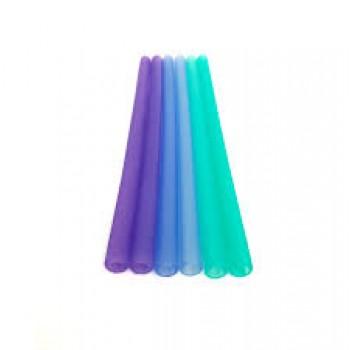 Paille en Silicone Réutilisable 6/pqt - Ombre Bleu - Silikids