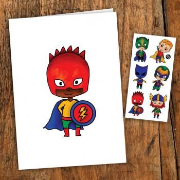 Carte De Souhait Avec Tatouage - Super-héros - Pico