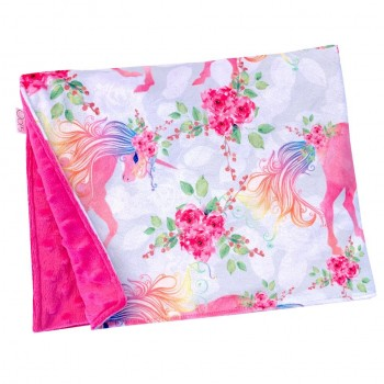 Couverture Minky - Licorne Fleuri - Oops