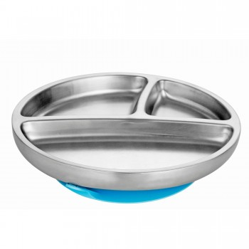 Assiette Inox Enfant - Bleu - Avanchy