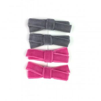 Barrettes 4/pqt - Velour Rose/gris - Baby Wisp