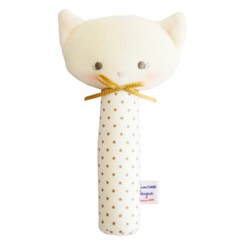 Hochet Chat 19cm - Pois Or