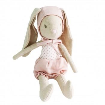 Peluche Bébé Lapin Avec Bonnet Rose 26cm