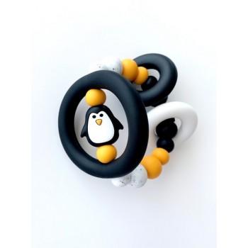 Hochet D'éveil Sensoriel - Pingouin Noir - Jululu