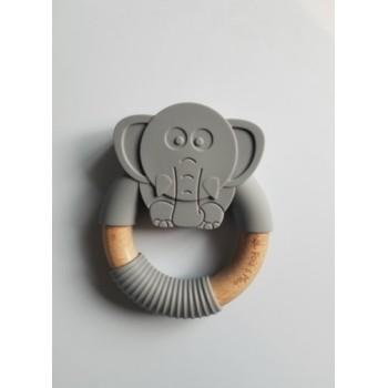 Anneau de Dentition éléphant - Gris- Pois & Moi