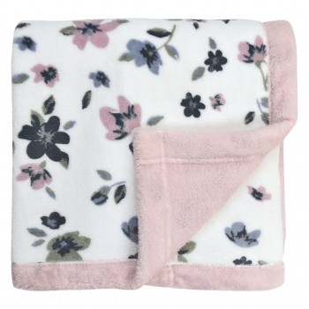 Couverture en Peluche - Fleurs - blanc/rose/bleu/kaki - Perlimpinpin