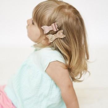 Duo Petites Boucles à Cheveux - Rose et Paillettes - Lox Lion