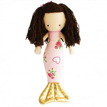 Poupée Sirène Mimi 40cm - Rose avec Fleurs et Coeur
