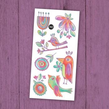 Tatouage Temporaire - Les Merveilleux Oiseaux - Pico