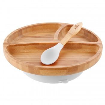Assiette Et Cuillère Blanc - Enfant - Avanchy