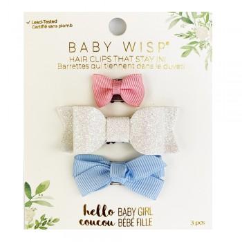 Barrettes Trio - Rose/blanc Scintillant/bleu - Baby Wisp