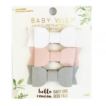 Barrettes Trio - Blanc/rose/gris - Baby Wisp