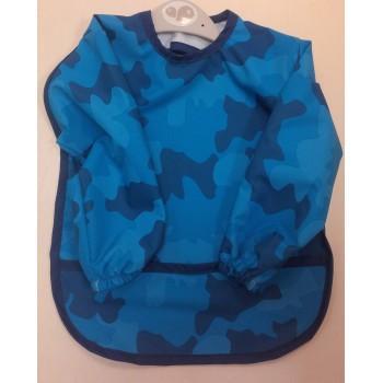 Bavoir À Manches 12-24m - Camouflage Bleu - Perlimpinpin