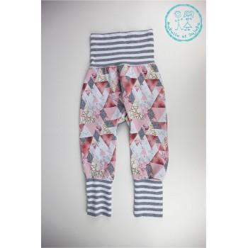 Pantalon Évolutif 1-3ans - Triangles Roses - Bubulle et Jujube