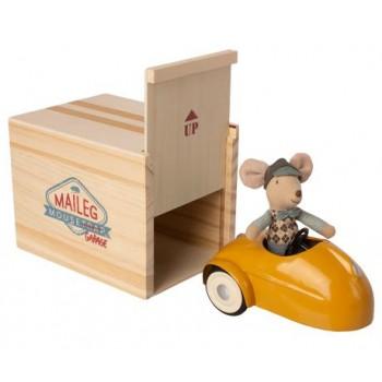 Petite Souris avec Voiture et Garage - Jaune - Maileg