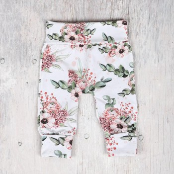 Pantalon évolutif - 0-12m - Fleuris Fond Blanc