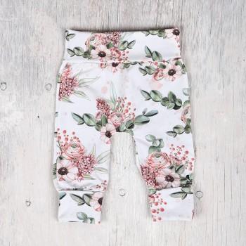 Pantalon évolutif - 6-36m - Fleuris Fond Blanc