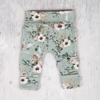 Pantalon évolutif - 0-12m - Fleuris Fond Sauge