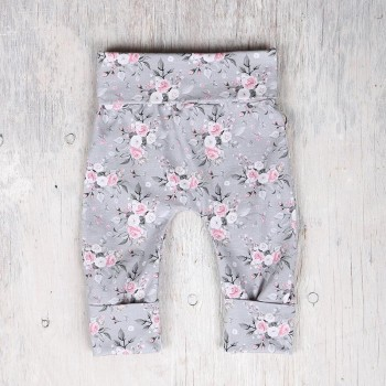 Pantalon évolutif - 0-12m - Fleuris Fond Gris