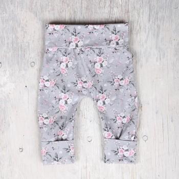 Pantalon évolutif - 6-36m - Fleuris Fond Gris