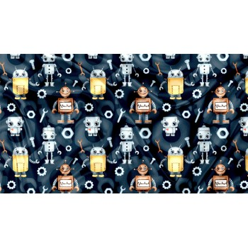 Couverture Minky - Robot - Oops
