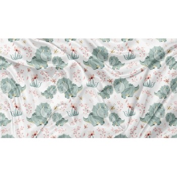 Couverture Minky - Dino Floral - Oops