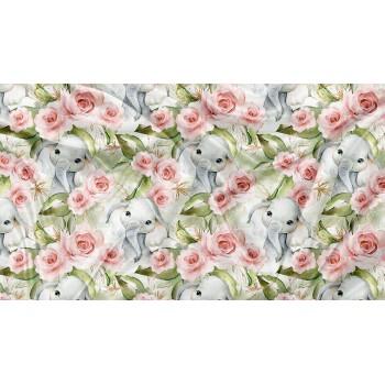 Couverture Minky - Éléphant Floral Doré - Oops