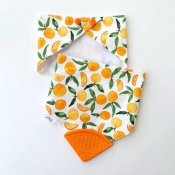 Bavoir de Dentition Jululu - Clémentines Orange
