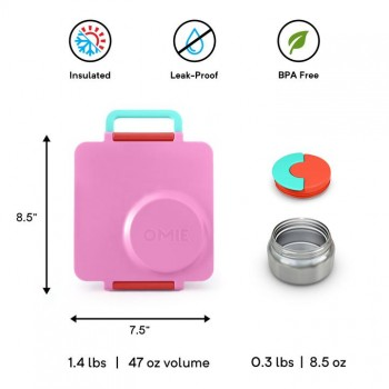 Boîte Bento Isolée pour Aliments et Thermos - Rose - OmieBox